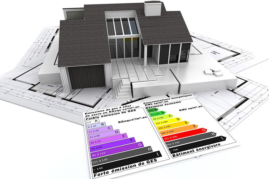 Maison avec les diagnostics énergétiques et pollutions