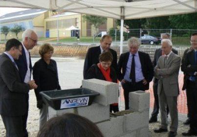 Première pierre du nouveau bâtiment de la DCNS à Guipavas
